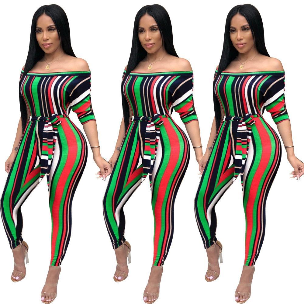 2018 Moda Sıcak Çizgili Tulumlar Kadınlar Slash Boyun Yarım Kollu Tulum Bayanlar Seksi Hollow Out Lace Up Playsuits Ücretsiz Dropshipping