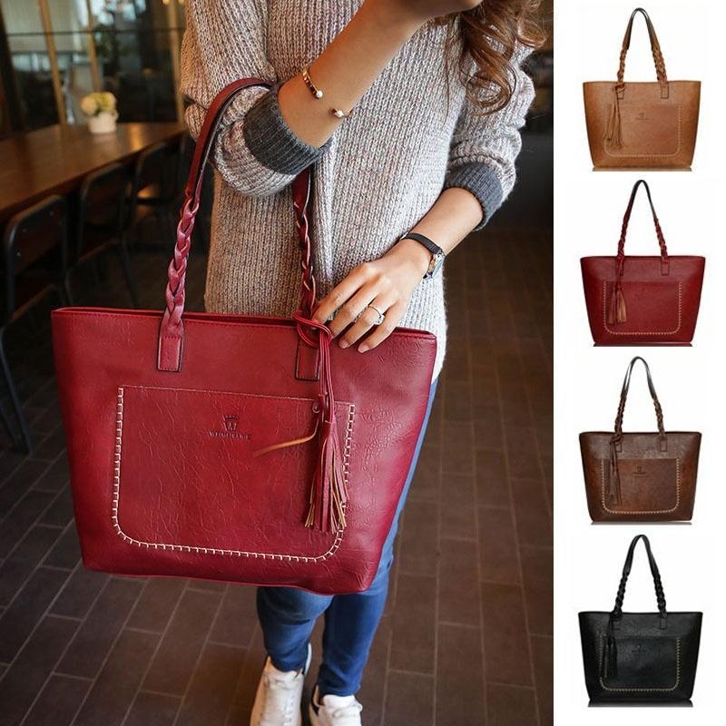 Женщины мода сумки искусственная кожа Леди большой емкости кисточкой сумки (цвет:)