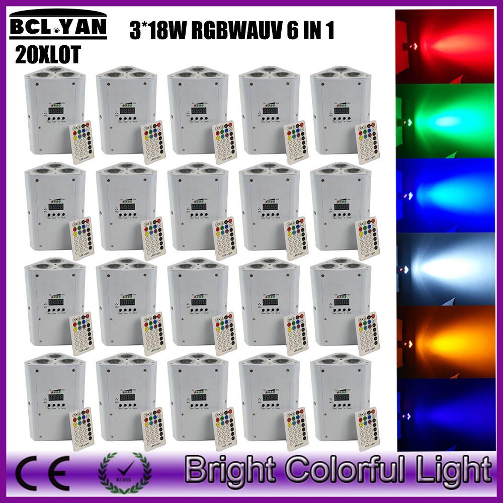 20XLOT Discount price MINI 3*18W RGBWA UV Wireless DMX LED Uplight 6IN1 Wedding Battery wireless Triangle