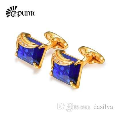 Boutons de manchette en cristal bleu / noir pour les hommes couleur d'or autrichien Pierre mariage Groom Cuff liens cadeau petit ami