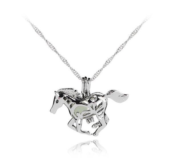 Светящиеся светящиеся в темноте лошадь ожерелье старинные Серебряная лошадь Единорог кулон медальоны цепи ожерелья Для женщин ювелирные изделия