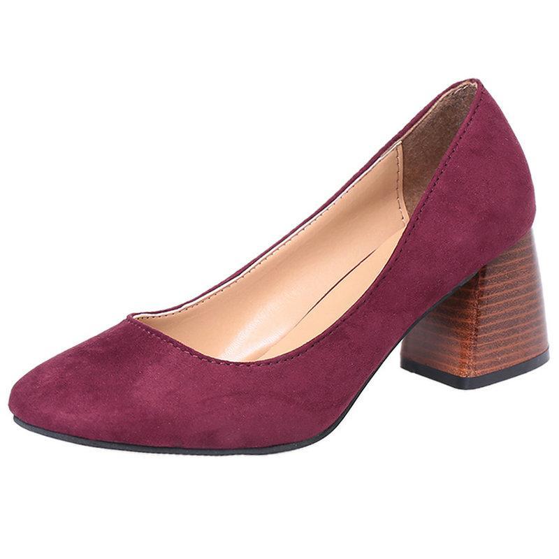 Tamaño 34-40 Mujer Bombas 6cm Zapatos de tacones gruesos Clásicos Zapatos de colores Sólidos Zapatos para damas Para zapatos de vestir y carrera Mujer
