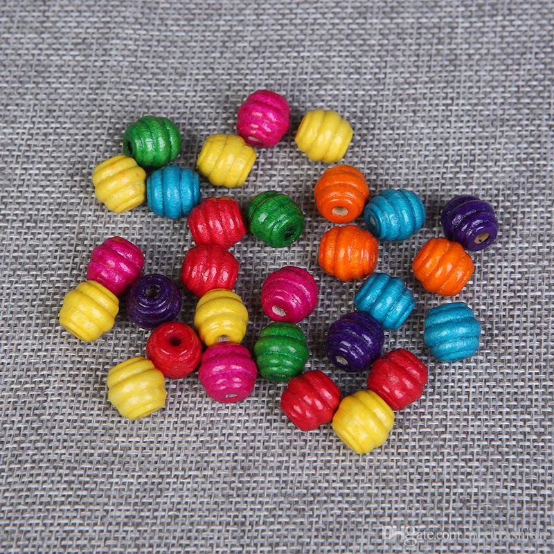 500pcs 10mm Dye Thread Round Spacer Wood Beads For Baby DIY Crafts Kids Toys Wooen Jewelry Making DIY Loose Colorful Wooen Beads