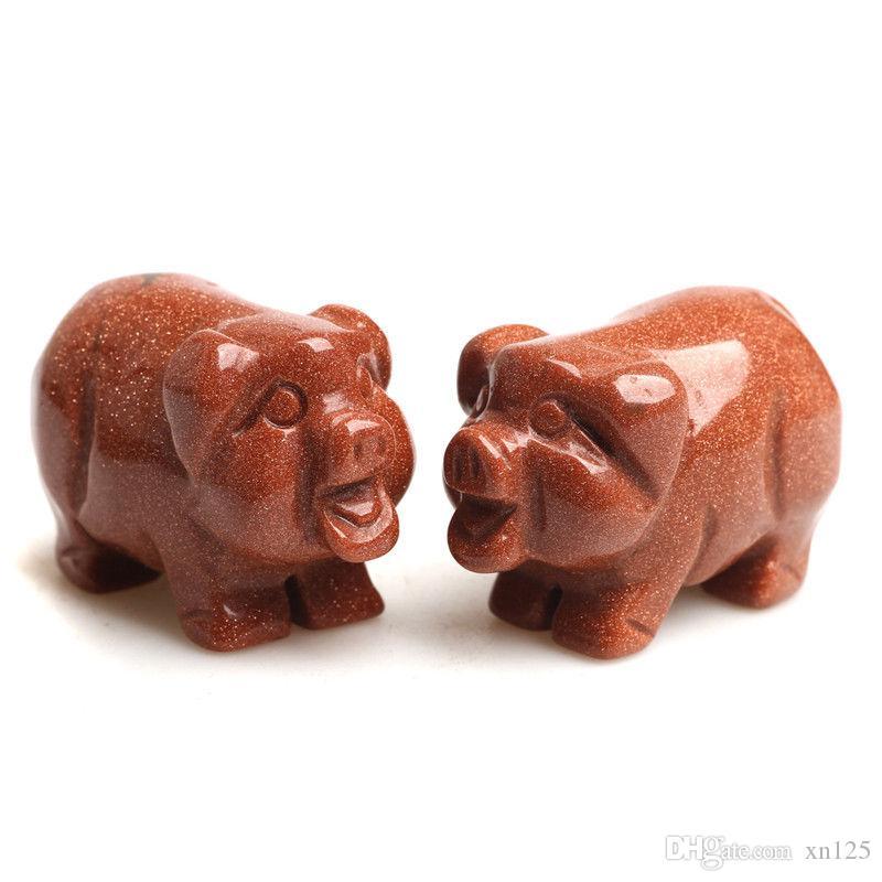 """1.57 """"Art de presse-papiers cochon sculpté à la main de cochon en cristal naturel Goldstone Crystal"""