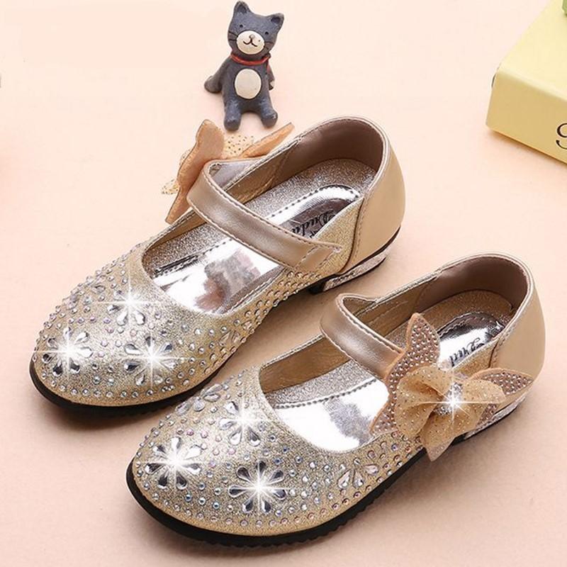 Princesse Chaussures Pour Enfants En Cuir Chaussures Enfants Filles Glitter Bow Knot Microfibre Blanc Rose Rouge Bleu Chaussure