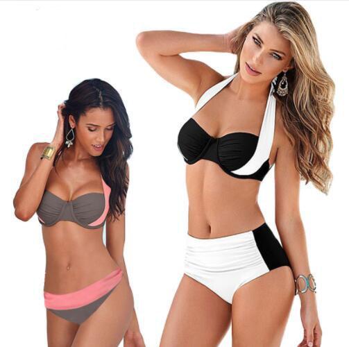 2018 New Sexy Bikinis Women Swimsuit High Waisted Bathing Suits Swim Halter Push Up Bikini Set Plus Size Swimwear 2XL