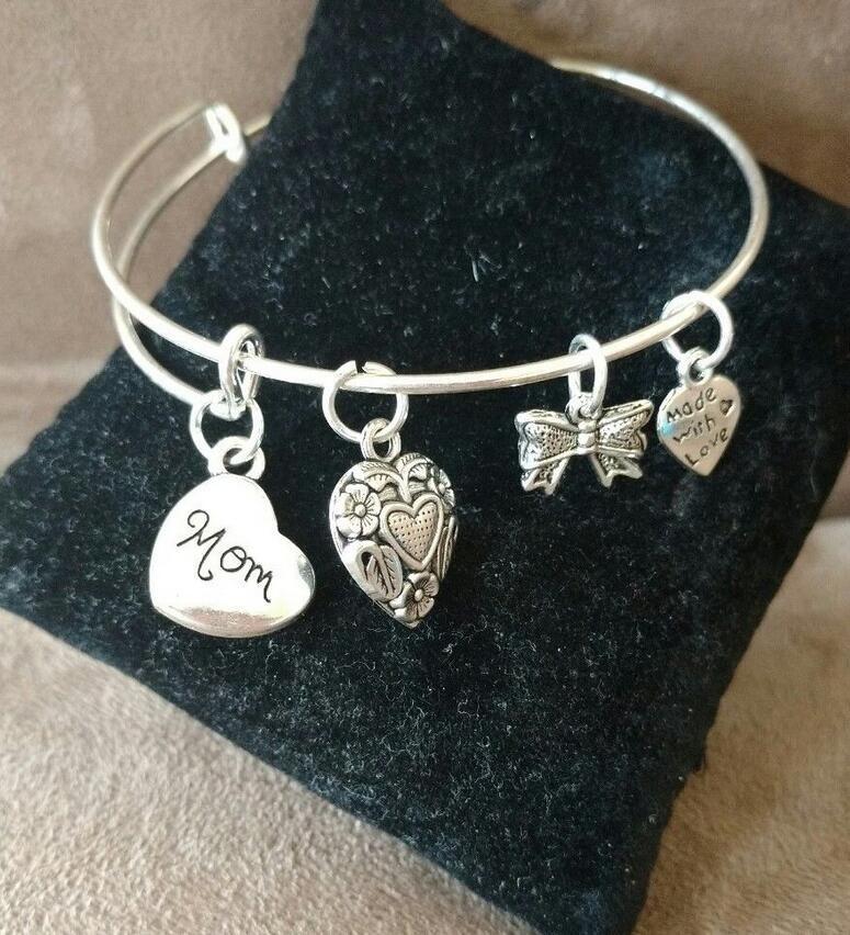 MOM MADRE de plata de la vendimia encantos del corazón de la fresa expansible Wire Bracelet Craft Wedding Cuff Bangles para mujeres accesorios de joyería NUEVO