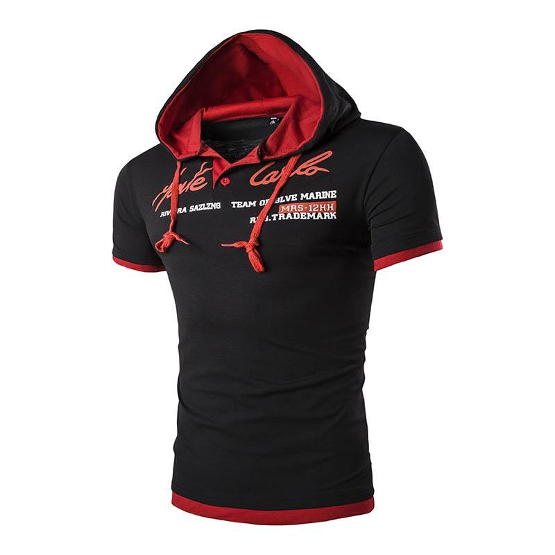 Letter New Male Leisure Brand t-shirt Summer Fashion Men Hooded Collar Sling Design T Shirt Men Short Sleeve Slim Male Tops 3XL Tops