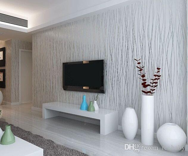 Non Woven Fashion Thin Flocking Vertical Stripes Wallpaper For