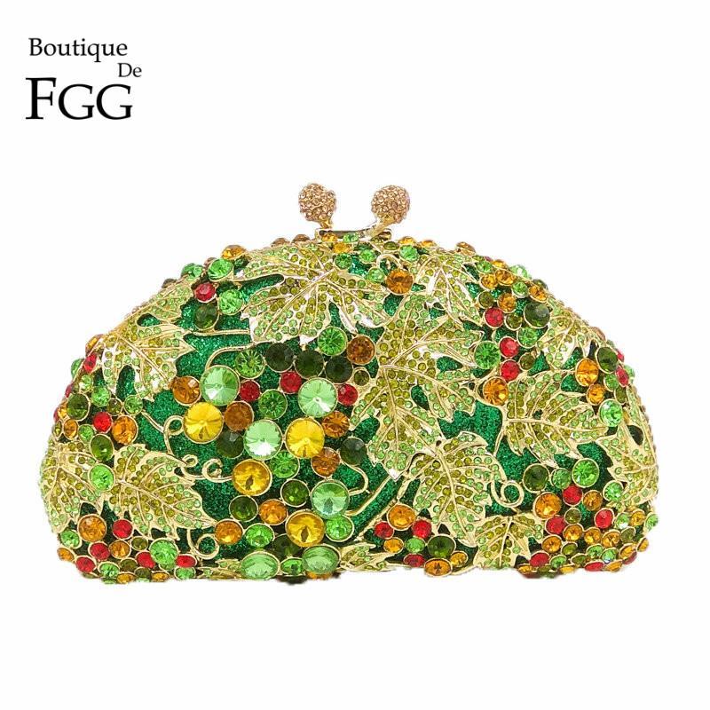 Boutique De FGG Green Diamond Frauen Grape Abendtasche Clutches Partei Hochzeit Handtaschen Brautkristall Clutch-Bag