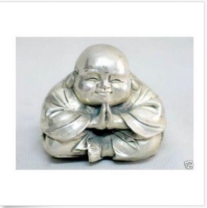 Figurine Bouddha Heureux en Argent Sculpté Tibétain Chinois