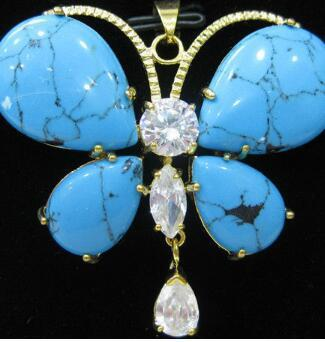 Frete grátis bonita jóia incrustada de cristal borboleta colar / pingente
