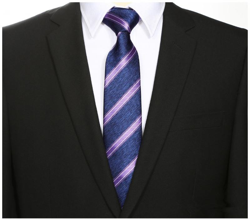2018 männer frauen 7 cm dünne seidenkrawatte dünne hochzeit business krawatten gestreifte lila krawatte cravatta uomo kravat erkek kravatte