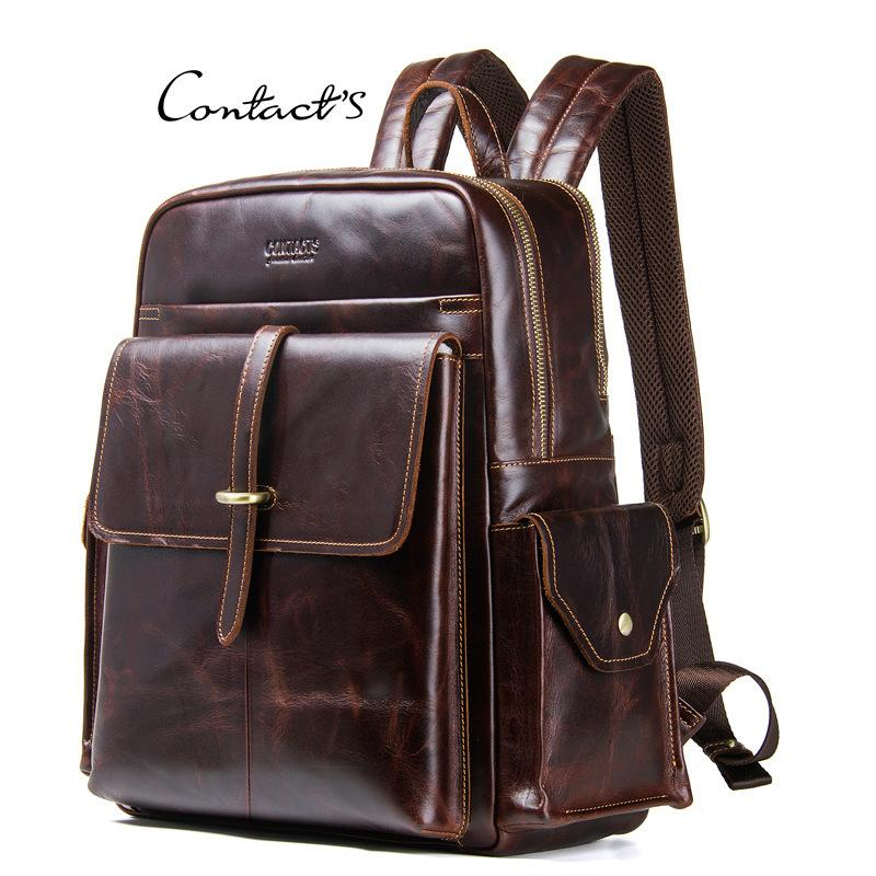 New Product Genuine Leather Man Both Shoulders Package Crazy Horse Leather Male Package backpacks men s backpack laptop book bags Promotion