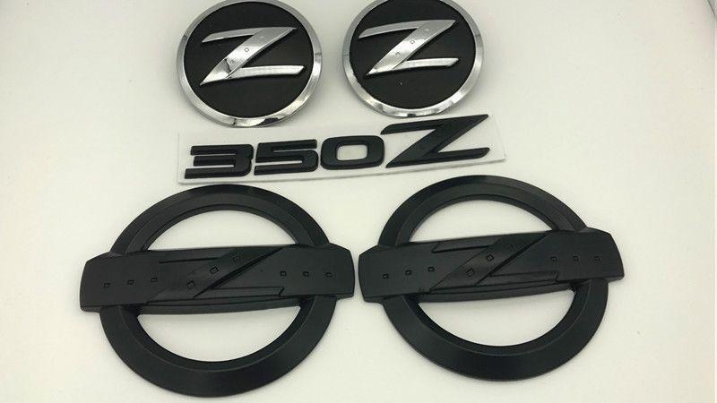 5pcs noir 350z badge kits voiture carrosserie arrière emblème autocollants pour 350z fairlady z33