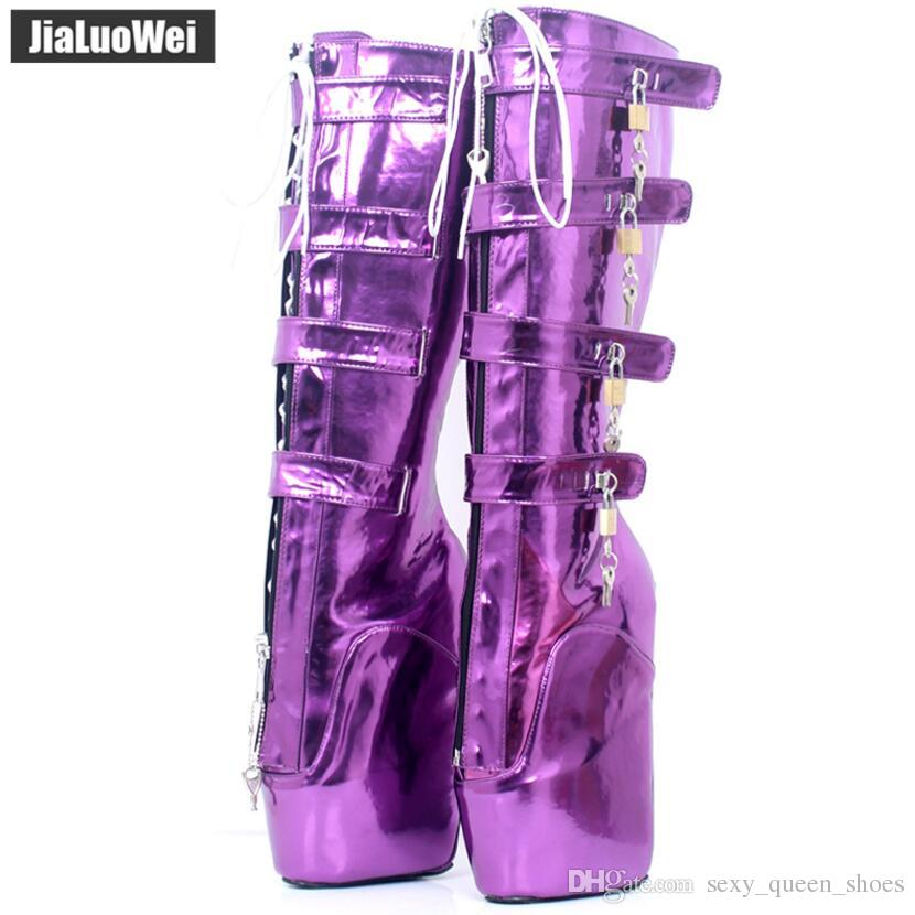 "NEW Women Ballet Boots 18cm/7"" Super High Heeled Wedge Hoof Heelless Fashion Sexy Slave 8keys Lockable Knee Boots Man Fetish SM Shoes"