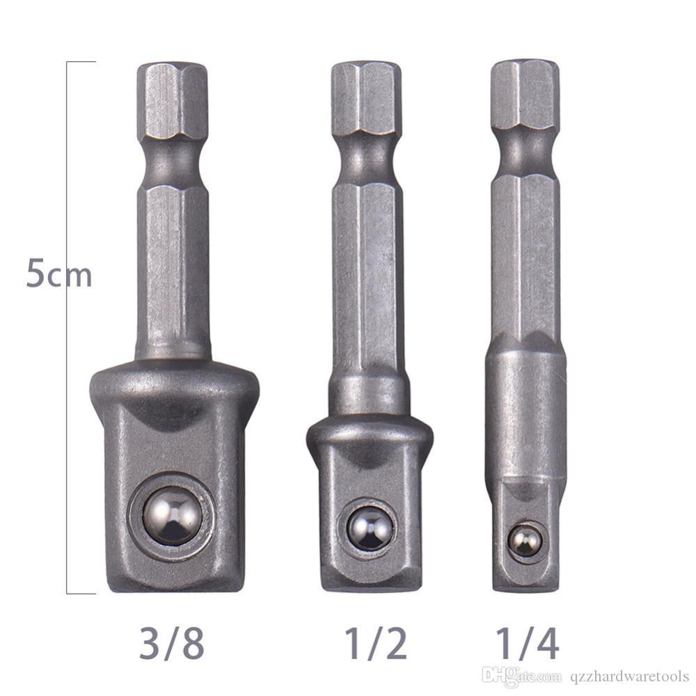 3pcs Hex Shank Drill Bit Sets Socket Adapter Set Hex Bar Bit Sets Extension Drill Bits Bar Socket Nut Drill Driver Bits