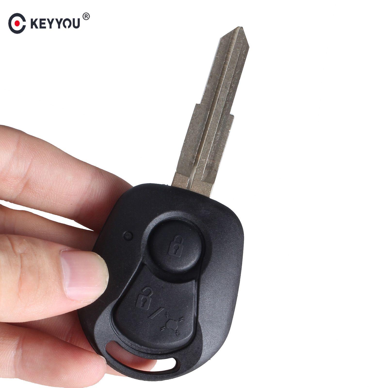 Cheap Car Key KEYYOU New 2 botão remoto Key Fob Caso Shell Titular Capa Para Ssangyong Actyon Kyron Rexton
