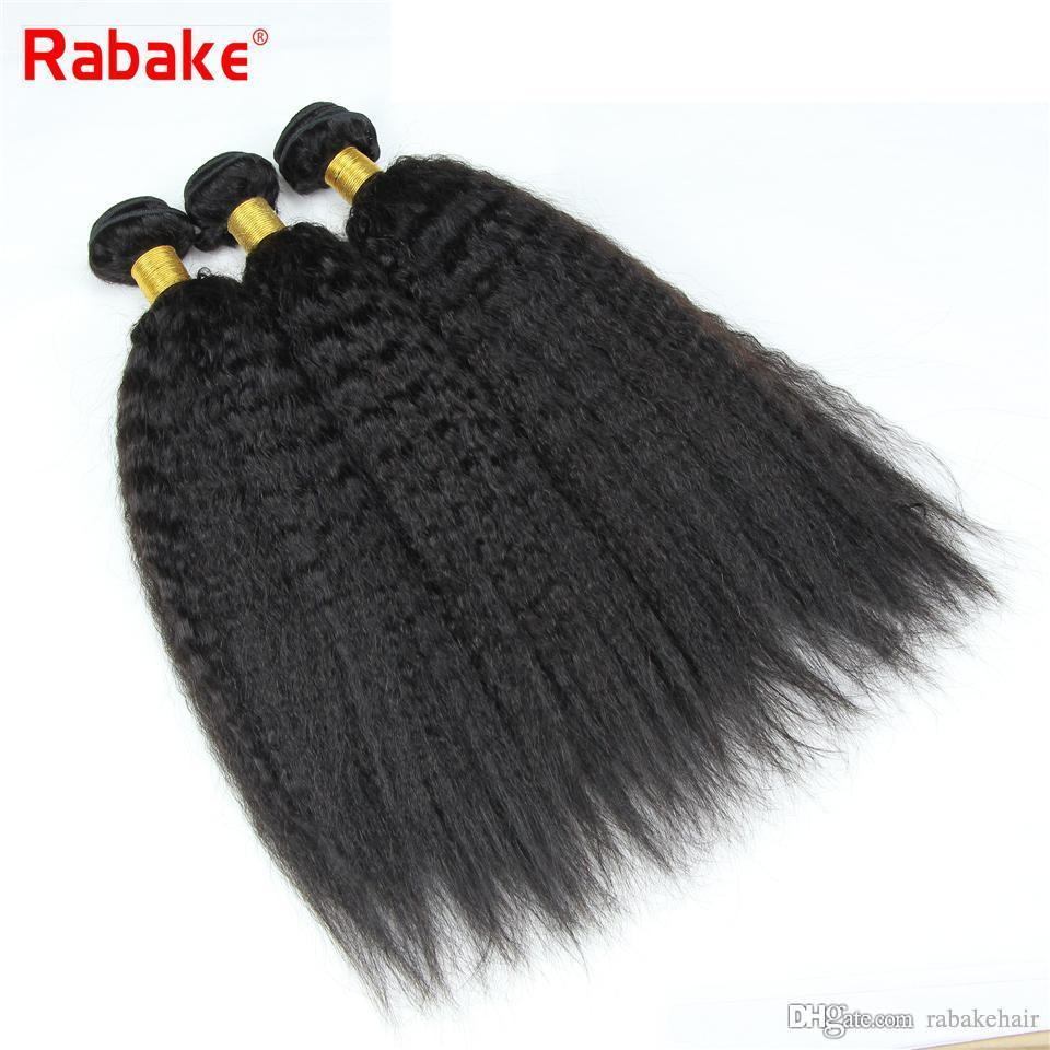 3/4pcs Malaysian Kinky Straight Virgin Human Hair Weave Bundles Rabake Coase Yaki Human Hair Extensions Bulk South Africa for Black Women