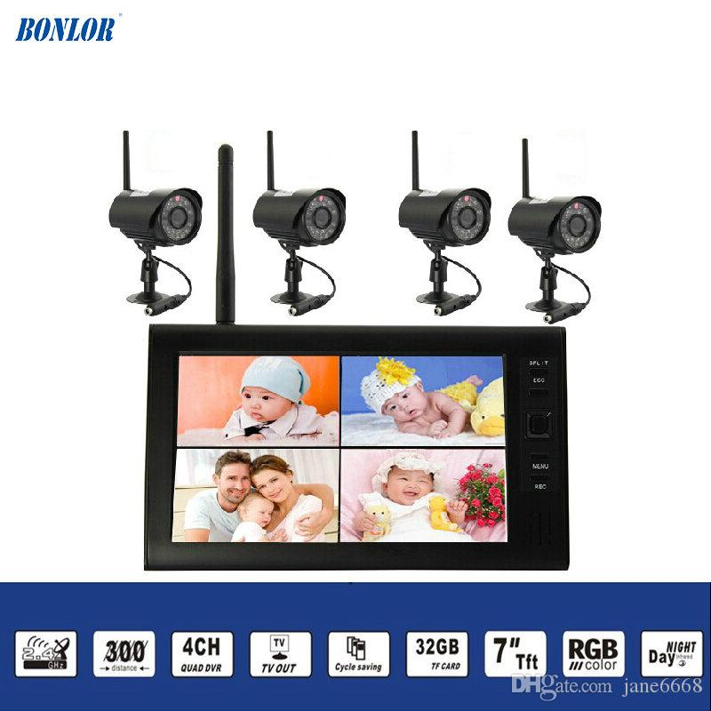 2.4Ghz Wireless Baby Monitor Kit Concluding 4Ch Digital Waterproof Bullet Camera and 7inch TFT LCD Monitor with QUAD Display Free Shipping