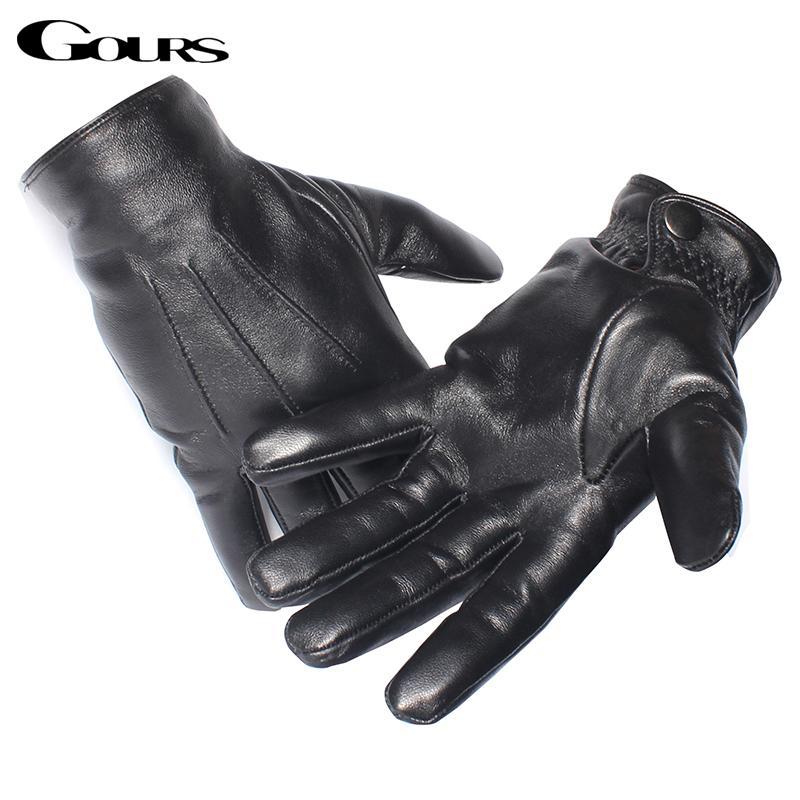 Vente en gros-Gours Gants en cuir véritable Homme Noir Gants en peau de mouton réel de l'écran tactile Bouton mode hiver chaud mitaines New GSM050