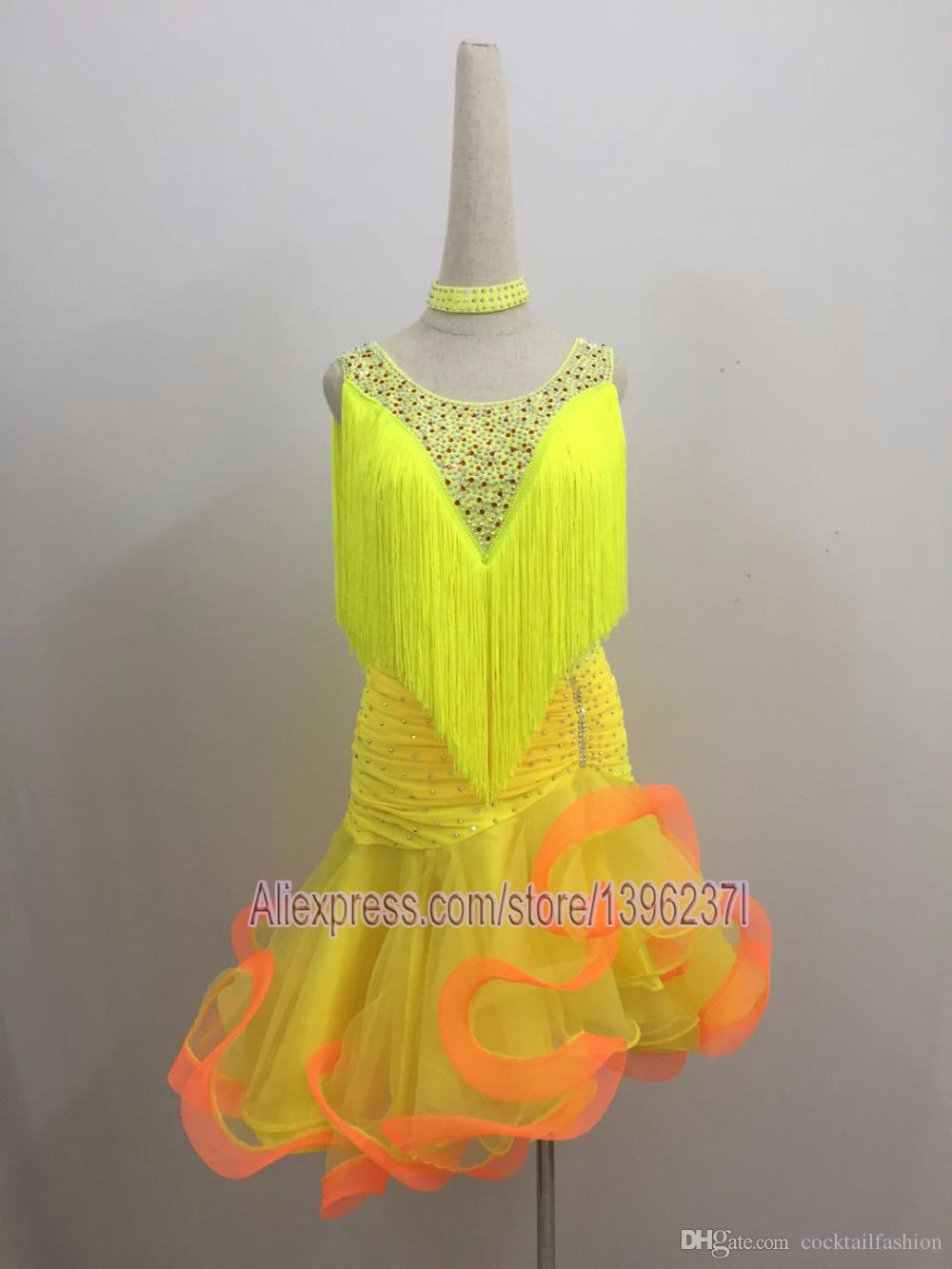 Latin Dance Skirt Women 2019 New Design V Neck Sexy Yellow Sumba Rumba Competition Dancing Skirt Adult Latin Dress