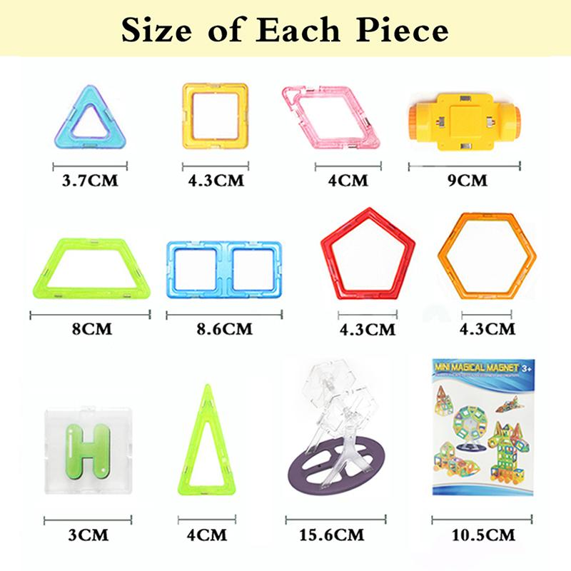 Mini 17-31 Pcs Kids Magnetic Blocks Construction Enlighten Assembly Building Toys Educational DIY Plastic Technic Brick
