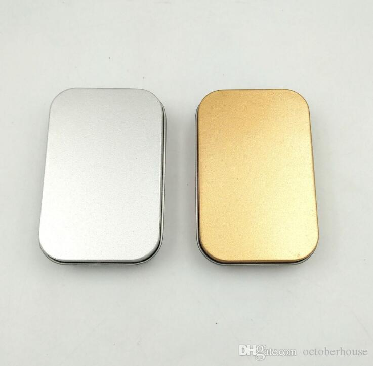 شعبي تين مربع الفضة فارغة / الذهب معدن حالة التخزين المنظم خبأ للمال كوين كاندي مفاتيح U صناديق سماعات الرأس القرص هدية
