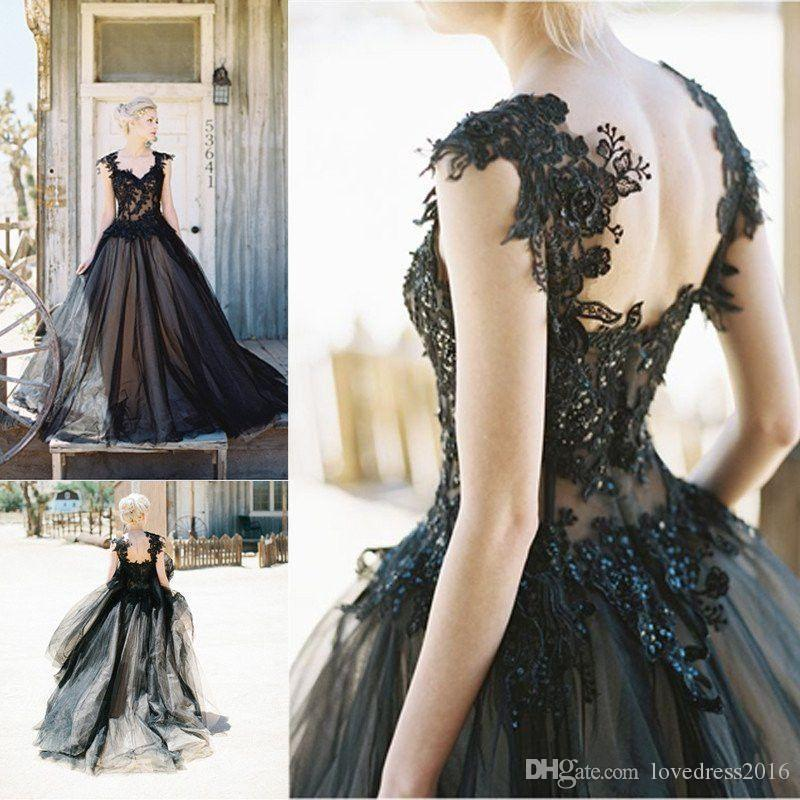 2018 Vintage Wedding Dresses with Lace Applique Beaded Sexy Back Bridal Dress China Long Black&Champagne Tulle Wedding Gowns