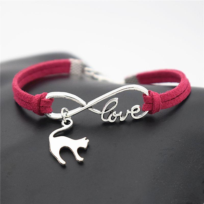 Infinity Love Cat Pendant Bracelets Couples Boudoir Bohemian Vintage Pendant Rose Red Leather Rope Chain Jewelry Ornament Women Men Unisex
