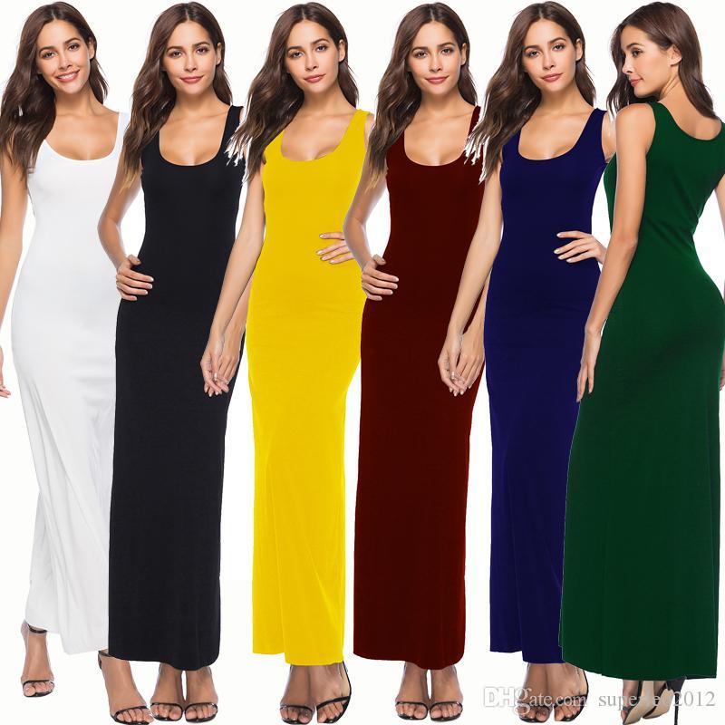 Kadın Kolsuz Bodycon Elbise Ince Katı Tank Top Maxi U Boyun Uzun Elbise Diz Yüksek Rahat Bohemian Elbiseler YD5070