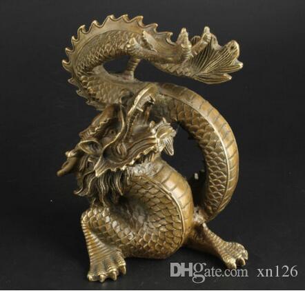 Китай Коллекционные Латунь Ручной Работы Ясно Отгонять Невезение Повезло Статуя Дракона