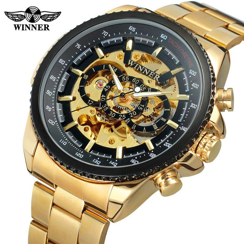 New WINNER Mens Watches Military Sport Clock Male Top Brand Luxury Skeleton Clocks Automatic Mechanical Steel Men Watch Hot