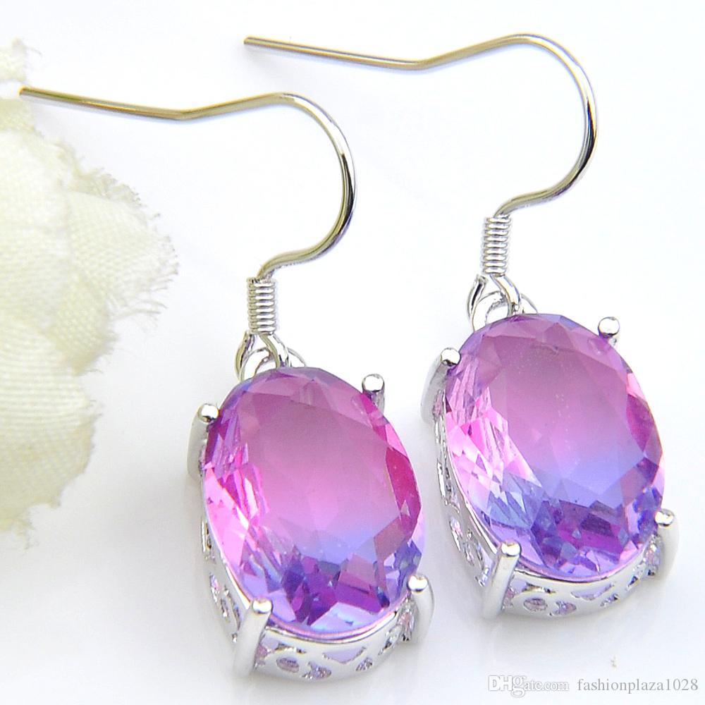 Silver Plated Tourmalien Jewelry 925 Sterling Silver Earrings