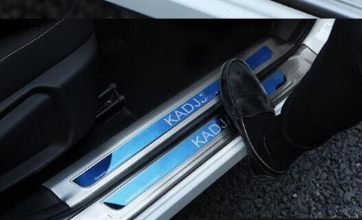 Reposapiés de acero inoxidable de alta calidad 8pcs (4pcs interno + 4pcs externo), placa de protección umbral para Renault Kadjar 2015