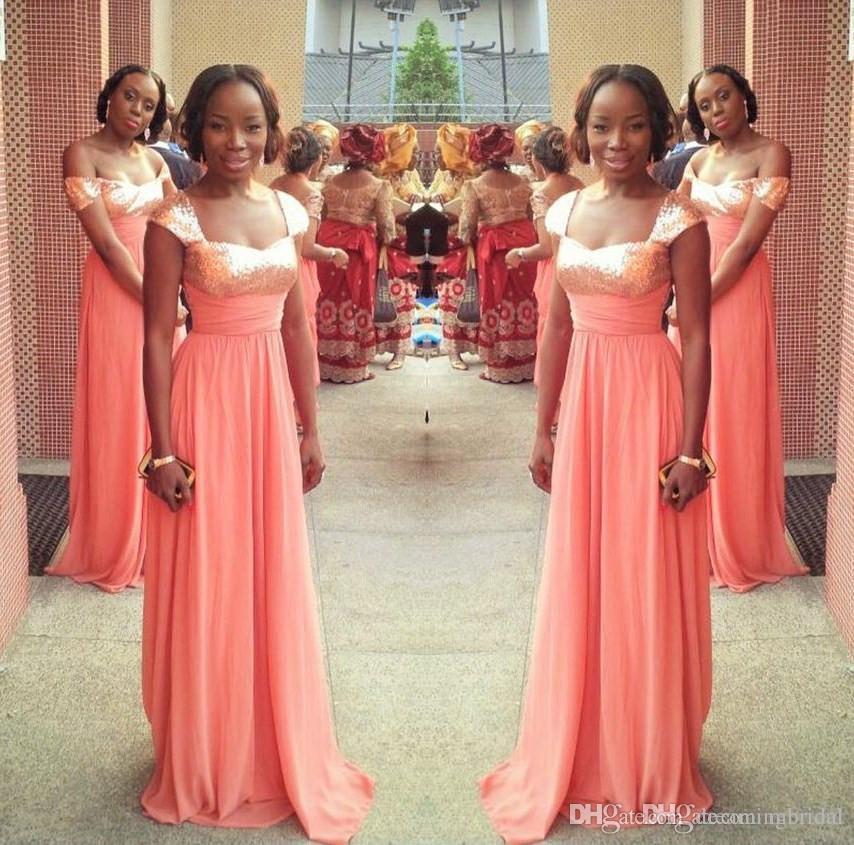 Простые Африканские Длинные Платья Невесты 2017 Новый Рукавов Линии Scoop Шеи Шифон Блестки Формальное Свадебное Платье Бальные Платья На Заказ