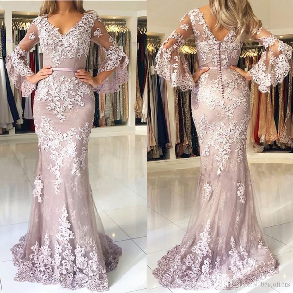 Blush Pink 2019 Modern Lace Mermaid Prom Dresses Scollo a V maniche lunghe Backless Eleganti abiti da sera Abiti da sera