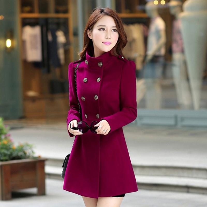 Ejqyhqr 2018 ربيع جديد معطف الصوف خندق النساء ضئيلة مزدوجة الصدر الخريف الشتاء معطف الأزياء قميص طويل للنساء