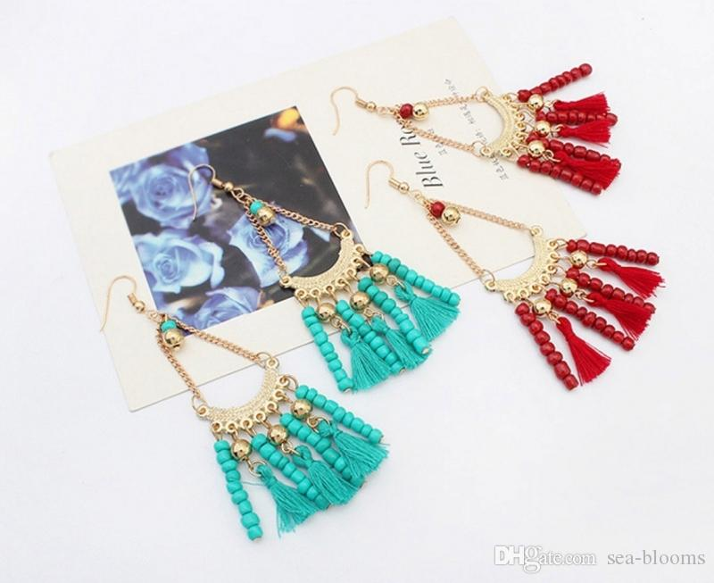 Boucles d'oreilles gland perlé de mode féminine rétro ethnique boucles d'oreilles multicolores frange triangle Dangle Boucles d'oreilles soutien FBA Drop Shipping H49R