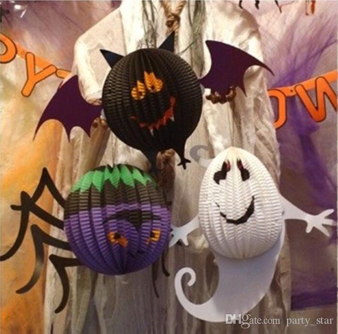 Sıcak Halloween 3D Bat Örümcek Hayalet kolye Dikmeler Çocuk Parti Cosplay Kağıt Fener Dekorasyon Araçları Bayram Malzemeleri
