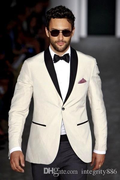 Personnaliser les Tuxedos De Mariage Ivory Men Bridegroom Groomsmen Blazer Excellent Hommes Formel Business Party Costume De Bal (Veste + Pantalon + Noeud) 259
