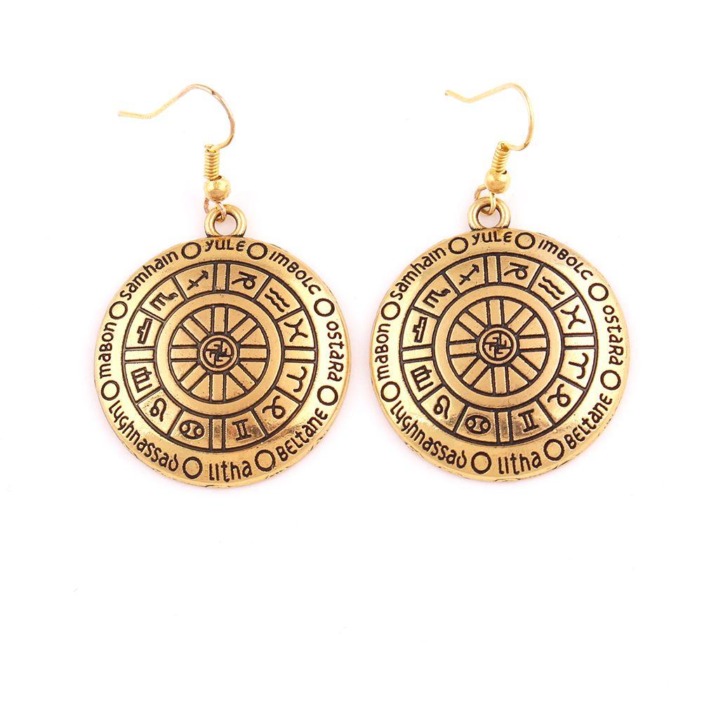 Колесо Года так же, как серебро и золото цвет Викка кулон серьги кварталы Саббаты зодиака Амулет фестивали