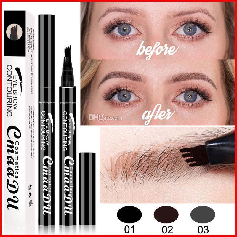 CmaaDu Sıvı Kaş Kalemi Sıvı Kaş Artırıcı 3 Renkler 4 Kafa Kaş Artırıcı Uzun ömürlü Su Geçirmez Göz kaş Makyaj