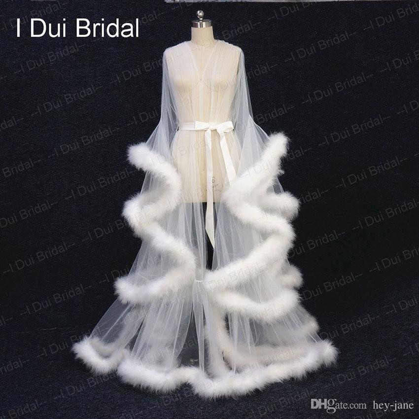 Fildişi Tüy Gelin Robe Tül Illusion Uzun Düğün Eşarp Custom Made Tüy Doğum Robe Intimate Giyim