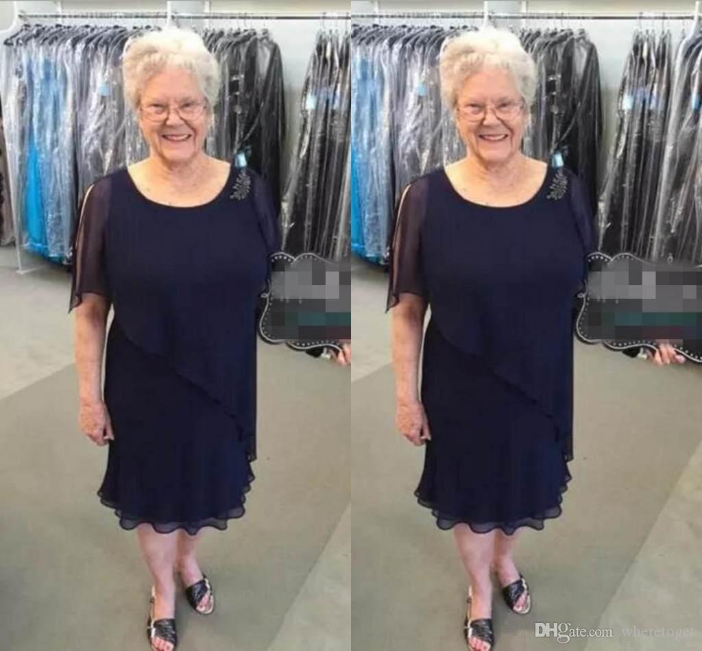 2019 nouvelle longueur de thé bleu marine robes de mère de mariée de la demoiselle à encolure dégagée en mousseline de soie marié robe de mariée pour les mariages