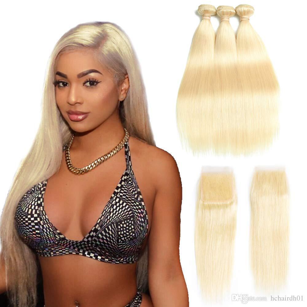 # 613 Связки с кружевами Фронтальные медовые блондинки Цветные бразильские прямые ремни для волос 3 комплекта с 13 * 4 фронтальными 4х4 кружевами