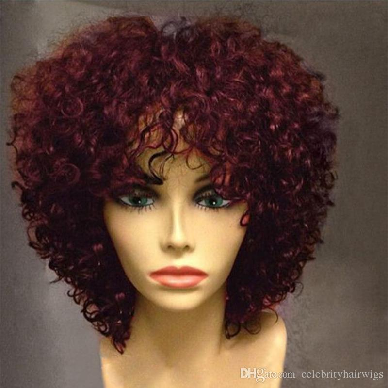 Mhazel Glueless Short Afro Kinky Curly Bob Front Heat Resistant Synthetic Fiber Hair Lace Wig Bangs Janet Wig Sensationnel Wig From Celebrityhairwigs