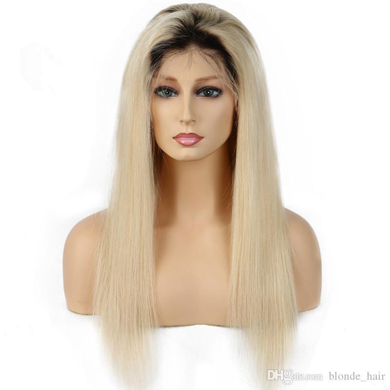 1B 613 شعر الإنسان الجبهة الرباط مستقيم شعر مستعار عذراء شقراء gluless ريمي للنساء شعري الطبيعي أسود أبيض