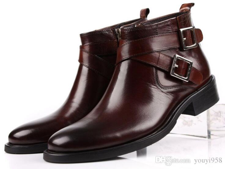 mannen laarzen lederen dubbele gesp zwart bruin mannelijke enkellaarsjes schoenen Botas masculinas
