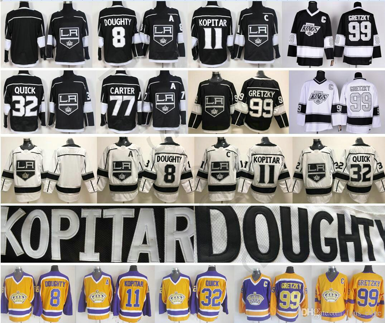 Los Angeles Kings Hockey 8 Drew Doughty 11 Anze Kopitar 23 Dustin Brown 32 Jonathan Quick 77 Jeff Carter 99 Wayne Gretzky Jersey